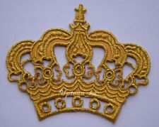 1x Beautiful Gold Royal Crown Crest Princess Embroidered Sew Iron on Patch DIY