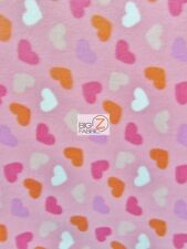 LOVING HEARTS PINK FLEECE PRINTED FABRIC SOLD BY THE YARD - 997 WARM BLANKET