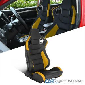 Passenger Side Black/Yellow PVC Leather Carbon Fiber Look Racing Seat w/ Sliders
