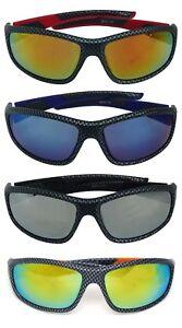 Carbon Fiber Style Sport Sunglasses Mirror Lens for Men Women Baseball Fishing