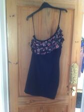 Black Bodycon Dress With Frilly Top,one Shoulder ,size 12 ❤️❤️