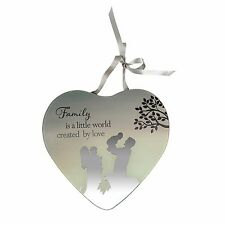 Family is created by love Reflections from the Heart Mirrored Hanging Plaque