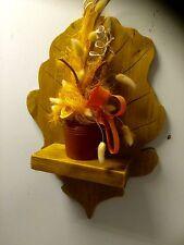 Art  Wooden Oak Leaf Shape Floating Shelf  Wall  Hand Made Rustic Oak