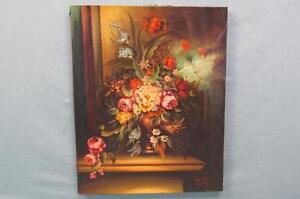 Vintage Van Dal Flower Print on Canvas Enhanced with Brushstrokes