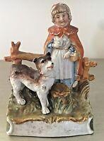 Antique Porcelain Staffordshire 19th Century Little Red Riding Hood Figure