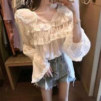 Womens Lace Chiffon Ruffle V-neck Tops Long Sleeve Shirt Frill Casual Blouse
