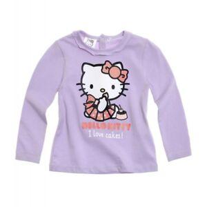 HELLO KITTY  t-shirt bébé 3 6 12 ou 24 mois  parme imprimé manches longues NEUF