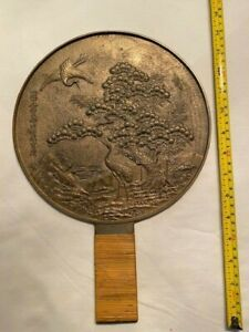 Large Antique Bronze Mirror  with Bamboo Wrapped Handle