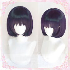 Scum's Wish Yasuraoka Hanabi Wig Short Dark Purple Bobo Cosplay Wig + Cap