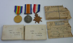 WW1 14-15 Star Trio G-4808 Lance Corporal Bicker E. Kent Reg