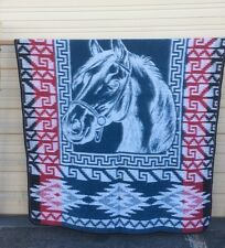 "MEXICAN SOUTHWEST TRADE BLANKET , HORSE , 89"" X 65"" , SOFT , BRUSHED ,  BLUE"
