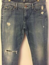 "7 for all mankind THE SKINNY Denim jean second fit oceanside FW0041525A 34"" 32"