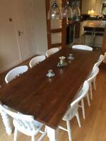 NEW 7ft x 3ft Pine Farmhouse Dining Table Eight Chairs Seat Country Kitchen