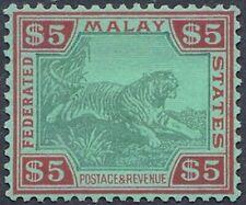 FEDERATED MALAY STATES -TIGER 1934 WM Multi Scr CA - SG81 - CAT $500 - FINE MINT