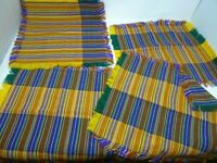 """4 12"""" Fringed Yellow Blue Striped Placemat Table Scarves Colorful"""