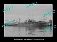 OLD LARGE HISTORIC PHOTO OF AUSTRALIAN NAVY SHIP HMAS GASCOYNE c1950