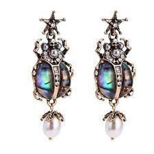 Vinatge Style Ladies Jewellery Long Moonstone Imitation Beetle Earrings E1517