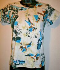 Top Fit S M SEXY Stretch Cotton Blue Sequin Turquoise Blue Brown T Shirt 11U