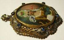 Art Hand Painting Oil Miniature Imperial Russia Brooch Pendant 1890 s Signed