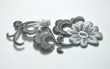 SILVER GREY FLOWER TRIMMING Embroidered Sew Iron On Cloth Patch Badge APPLIQUE