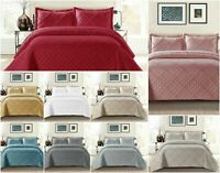 Modern 3PCS Embossed Raffle Quilted Bedspread Bed Throw Comforter Set all Sizes