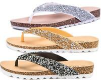 Womens Premium Flip Flop Sandals Glitter Flexi Sole Casual Comfort Summer Shoes