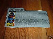 G.I. JOE GI IRON GRENADIERS DESTRO'S ELITE TROOPERS FILE CARD old vintage OOP