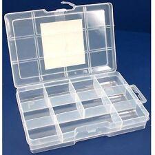 11 Compartments Jewelry Bead Screws Sewing Parts Storage Box w/ Lock #8721BB USA