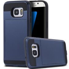 Slide secret card holder back pc case for Samsung Galaxy S7 Edge G9350 cover