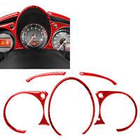 5Pcs For Nissan 370Z 2009-20 Red Carbon Instrument Panel Interior Trim Sticker