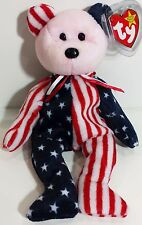 "TY Beanie Babies ""SPANGLE (Pink Face)"" PATRIOTIC USA TEDDY BEAR - MWMTs! GIFT!"