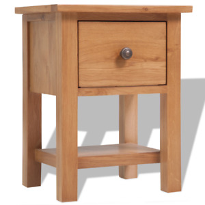 OAK Bedside Table Wood Nightstand Solid Wooden Drawer Storage Bedroom Brown