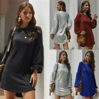 Long Sleeve Solid Dress Casual Loose O Neck Maxi Dresses Cocktail Party Evening