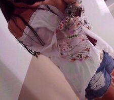 Bluse L 42 Neu Blogger Tunika Ibiza Italy Shirt Spitze Musthave Blume Weiß 40 xl