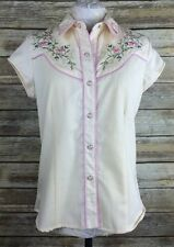 Scully Womens Small Western Floral Bling Breast Cancer Ribbon Short Sleeve Top
