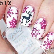 Nail Art Water Decals Stickers Christmas Pink Snowflakes Reindeers (436P)
