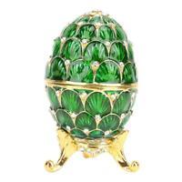 Enameled Easter Egg Jewelry Organizer Ring Trinket Box Home Decor Gift+Box