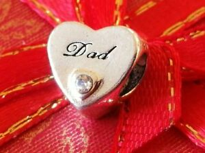 Silver DAD's Father Daughter Love Heart Charm fits UK/European Charm Bracelets