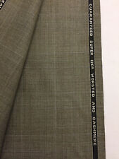 3.35 Metres Beige Checked Super 120's Wool & Cashmere Suit Fabric. Bower Roebuck