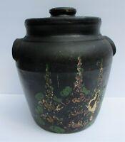 Vintage Cookie Jar Pottery Stoneware Lid Crock Ear Handles Folk Art Black