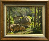 Forêt -Sous bois, Russie?. XXéme siècle. Huile sur carton - Nik Fetisov 1956