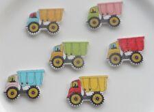 15 Bottoni in legno a Forma di Camion in colori misti 30x21mm