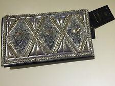 Balmain X H&M Tasche Leder Strass  Clutch Lederclutch Silber mit viel Strass neu