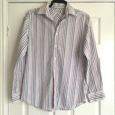 Men's Long Sleeved Burtons Shirt White With Stripes - Size Medium