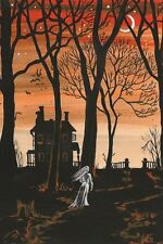 4X6 HALLOWEEN POSTCARD PRINT LE 7/27 RYTA VINTAGE STYLE GHOST HAUNTED HOUSE