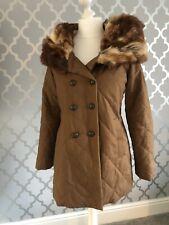 Womans Firetrap Medium Faux Fur Parka Hooded Coat Size 12 Long Brown/ Beige