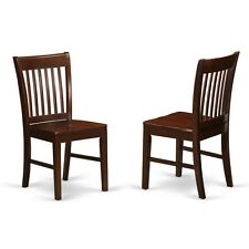 East West Furniture Kitchen Dining Chair W/Wood Seat -Mahogany Finish, Set Of 2