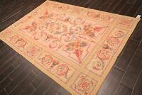 "6' x 8'7"" Asmara Hand Woven 100% Wool Needlepoint Area Rug Traditional Beige"