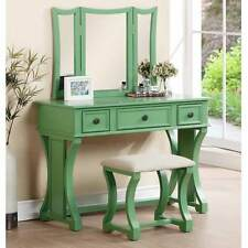 Tri Folding Mirror Curved Lines Vanity Makeup Table Bench Set Drawer Apple Green