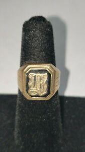 Vintage 10k yellow gold initial ring men